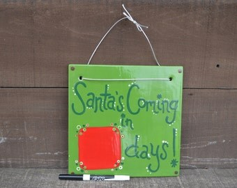 Kelly Green Dry Erase Christmas Calendar Countdown - Ceramic Hanging Tile - Includes Ribbon for Hanging and Dry Erase Marker