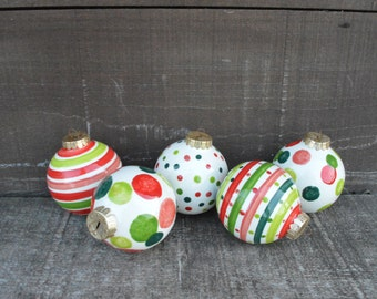 Set of Five Stripes and Polka Dots Ceramic Christmas Ball Ornaments in Greens and Reds