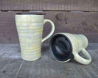 Earth Tone Ceramic Travel Mug with Lid - Twist Closure - Green Ash Sage