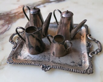 Miniature SERVING TRAY Silver Plate Coffee Tea Dollhouse Tea Set