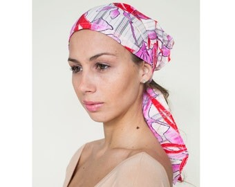 Red Cotton Headscarf, Head Cover Scarf for Women, Boho Head Scarf, Head Covering, Hairscarf