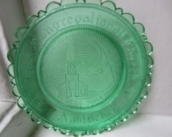 Bright Green Nantucket Vintage Glass Dish Church Plate Jewelry Holder Tea Lights Holiday Gift