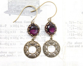 Purple, Eggplant Gemstones Filigree Antique Trinity Gold Brass Earrings