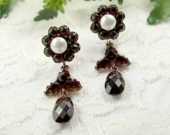 Vintage garnet earrings w/ freshwater pearls in Victorian style || ГРАНАТ #PK