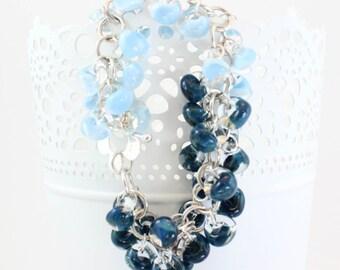Yin Yang Glass Charm Bracelet, Blue, Charm Bracelet, Small Average Wrist, Charm Cluster Bracelet, Sterling Silver, Lightweight