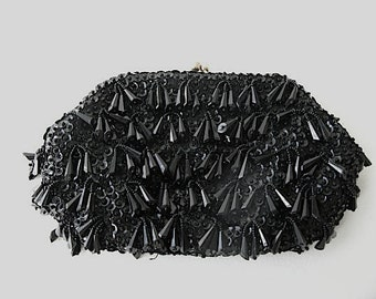 Vintage Evening Bag, Black Beaded bag, Purse, clutch, dressy, cha cha,