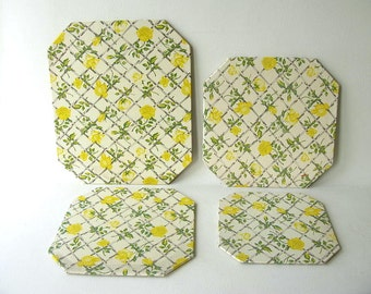 Vintage Trivets, Hot Pads, Floral, yellow, rose print, shabby cottage