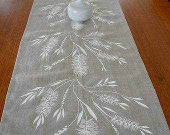 Linen Table Runner Hand Screen Printed White&Natural Australian Bottlebrush