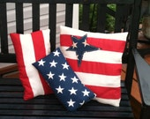 Primitive Americana Pillows - Set of Three Red, White, Blue, Stars & Stripes OFG STATTEAM TeamUNITY HAFAIR stbt Patriotic