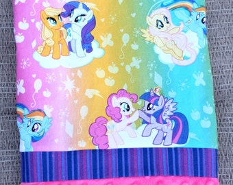 Pillowcase - Little Ponys Print on Cotton with Pink Dimple Minky
