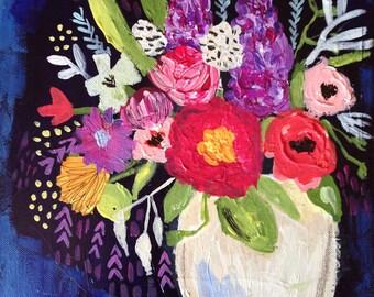 Midnight Bouquet Original Mixed Media Painting
