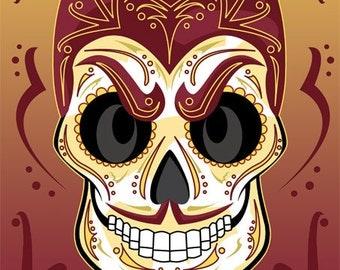 Arizona State University Sun Devil Sugar Skull Print 11x14 print