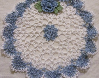 crocheted heart doily delf blue and white  handmade