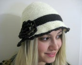 Crochet Hat, Beanie - Cream and Dark Brown with Big Flower - Christmas Gift for Her - Cloche hat - Crochet flower