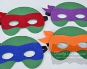 ONE (1) Deluxe Felt TMNT MASK - 4 colors to choose from - Ninja Turtle, Teenage Mutant Ninja Turtles, Ninja Turtle Mask, Felt Mask, Turtle