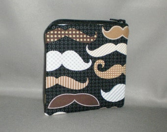 Coin Purse - Mustache - Mini Wallet - Card Case - Small Padded Zippered Pouch