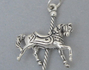 New Sterling Silver 925 Charm Pendant 3D MERRY-GO-ROUND Carousel Horse 1088