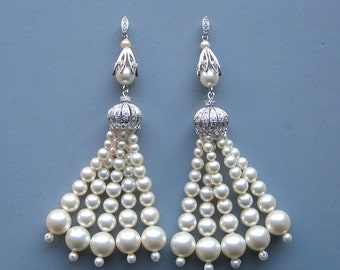 Vintage Inspired - Long Art Deco Pearl Tassel Earrings - Sterling SIlver and Swarovski