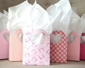 Baby Pink Heart Handled Gift Bags, custom colors available