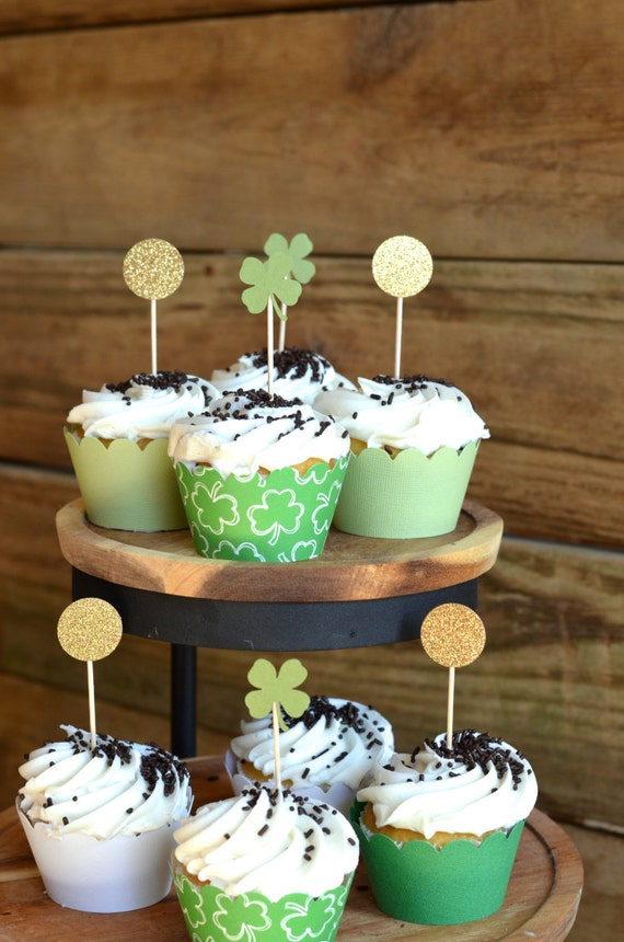St. Patrick's Day Shamrock and Gold Coin Cupcake Toppers, 12 little four leaf clovers and coins