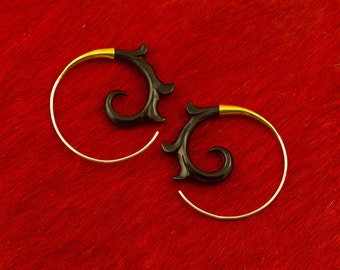 Brass and Sterling, Tribal Style, Fake Gauges, Horn Earrings, Organic, Cheaters, Plugs, Handmade Silver and Horn Salander Spirals - Horn