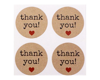 Kraft brown THANK YOU! with red heart - typewriter font - circle sticker labels - packaging, gift wrapping, envelope seals