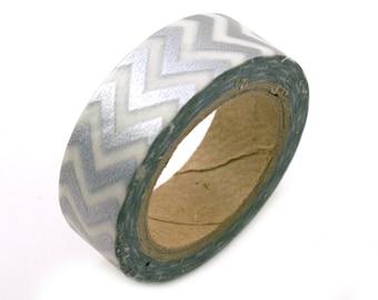 Silver Washi tape with CHEVRON  design - silver chevron washi masking tape - silver masking tape