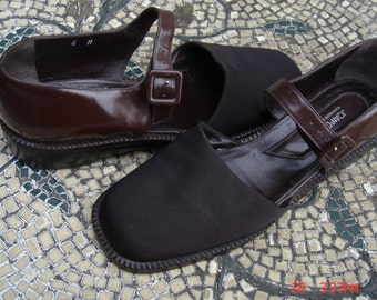 Vintage Ladies Joan & David Chocolate Leather and Canvas Shoes - Made in Italy