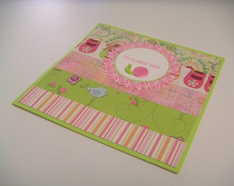 Pink and Green One-of-a-Kind Handmade Stamped Get Well Square Greeting Card with Happy Snail - To Cheer You