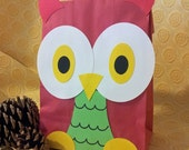 Christmas Holiday Owl Treat Sacks - Winter Wonderland Forest Theme Birthday Party Favor Goody Bags by jettabees on Etsy