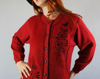 SALE - Vintage 80s Cranberry Red Embroidered Wool Cardigan Sweater