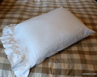 Linen Pillow Case Sham with a 4 Inch Ruffle that has a 2 1/2x Fullness...available in many colors