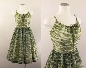 50s dress - 1950s green chiffon party dress - small