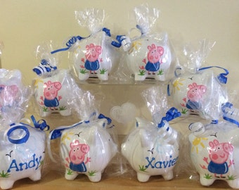 Personalized Peppa Pig Party Favor Piggy Banks- 1st Birthday Christening , Communion