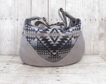 Messenger Bag, Grey Leather Hobo, Leather Cross Body, Leather Purse, Tribal Bag, Wool and Leather Bag, Navajo Style Bag, Indian Blanket Bag