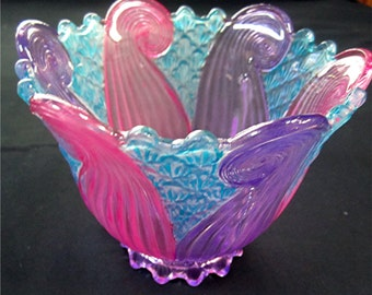 Vintage Hand Painted Glass Chandelier Shade Candle Holder/Pink-Purple-Aqua/Art Deco Design