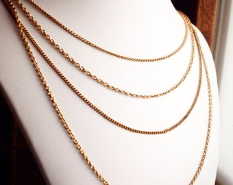 Vintage Layered Multistrand Necklace / Gold Chains / Multi Chain Layer / Hippie Boho Holiday Party / Retro Jewelry
