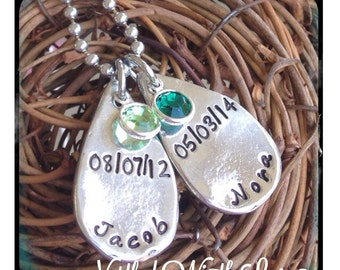 Personalized Hand Stamped teardrop mommy necklace