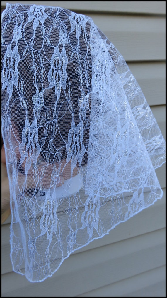 White Silver   floral style  lace Mantilla Scarf Veil CHURCH HEAD COVERING