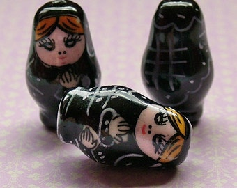 Black Matryoshka Russian doll beads set of 5