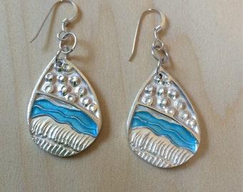 turquoise silver earrings, aqua earrings, turquoise enamel, mountains, wheat fields, made in America, A River Runs Through It