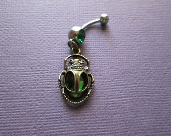 Ancient Egyptian scarab beetle belly button rings, body jewelry