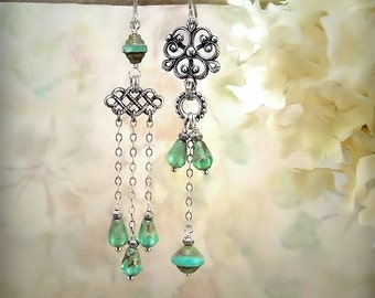Aqua Opal Asymmetrical Earrings, Blue Green Silver Chandelier Earrings, Roman Glass Style, Mismatch Siren Mermaid Festival Jewelry - Pompeii