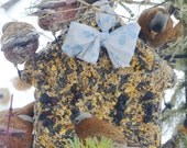 Wild Bird Seed Feeder Big House - Organic - built in hanger - wreath