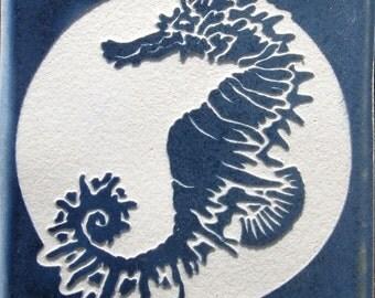 Spiny Seahorse - 4x4 Etched Porcelain Tile - SRA