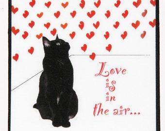 Love Is In the Air, Cat Refrigerator Magnet, Black Cat Art, Small Gift for Big Cat Lovers, Fridge Magnets, Deborah Julian