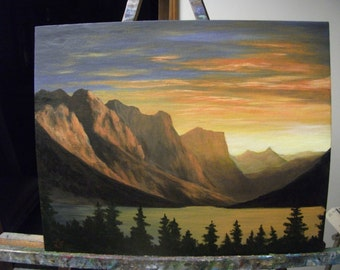 Mountains And Lake At Sunrise, Trees, Sunset, Clouds, West, Water, Night, Original Landscape Oil Painting