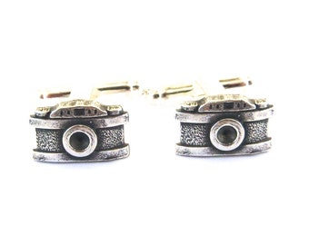 Camera Cuff Links- Sterling Silver Ox Finish- Groomsmen Gifts- Small Cameras