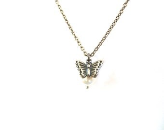 Butterfly Pearl Necklace-  Sterling Silver or Antique Brass Finish- Wedding Necklaces- Bridesmaids and Flower Girl Necklace