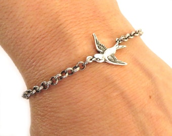Steampunk Sparrow Bracelet or Anklet- Sterling Silver Ox Finish- Small Sparrow Necklace